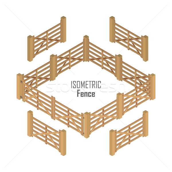 Ahşap çit vektör izometrik projeksiyon çiftlik Stok fotoğraf © robuart