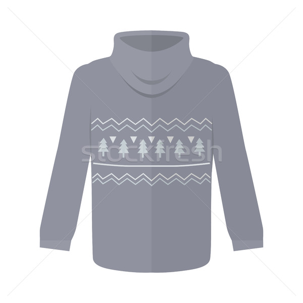 Stock photo: Sweater or Jumper with Fir Tree Icons Isolated