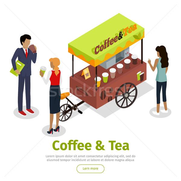 Coffee Tea Concept Isometric Vector Web Banner Stock photo © robuart