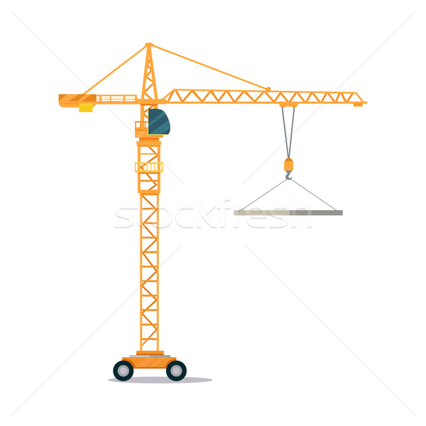 Industrial Yellow Crane Lifting Heavy Glass Elemet Stock photo © robuart