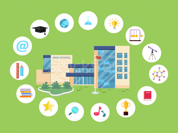 Set of School Icons. Building Book Devices. Vector Stock photo © robuart
