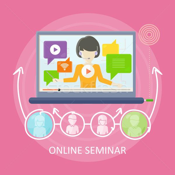 Online seminarium wektora projektu kobieta zestawu Zdjęcia stock © robuart