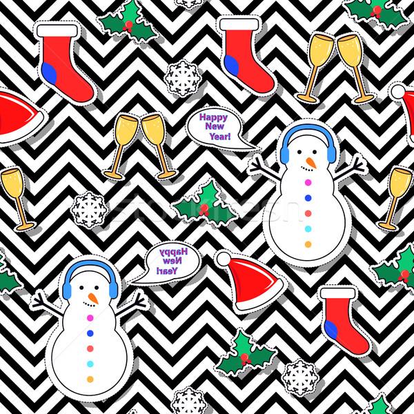 Sneeuwpop sok tekstballon maretak sneeuwvlok sokken Stockfoto © robuart