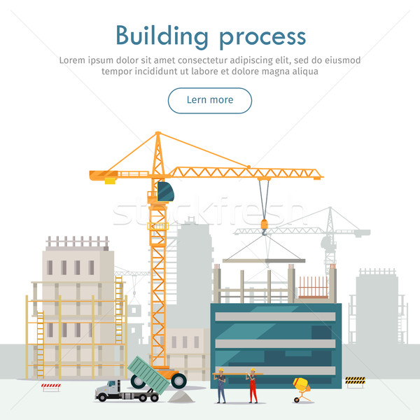 Building Process. Unfinished Building. Crane. Stock photo © robuart