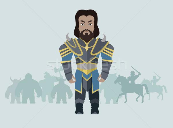 Stock photo: Fantasy Knight Character Vector Illustration.