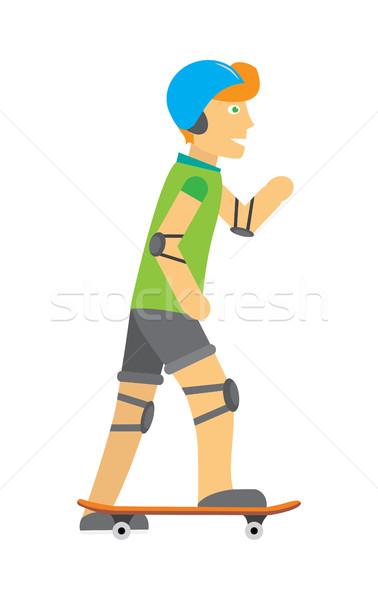 парень шлема локоть колено скейтбординга мальчика Сток-фото © robuart