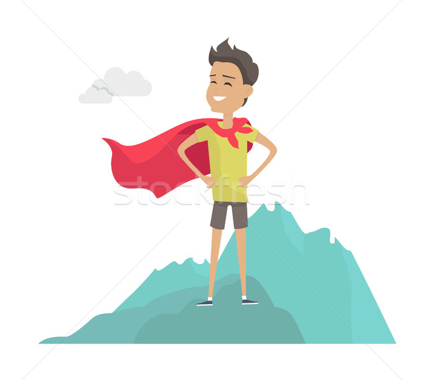 Man in Hero Cape on Mountain Peak Illustration.  Stock photo © robuart