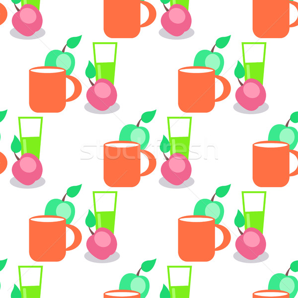 Seamless Pattern with Red Mug, Glass and Apples. Stock photo © robuart