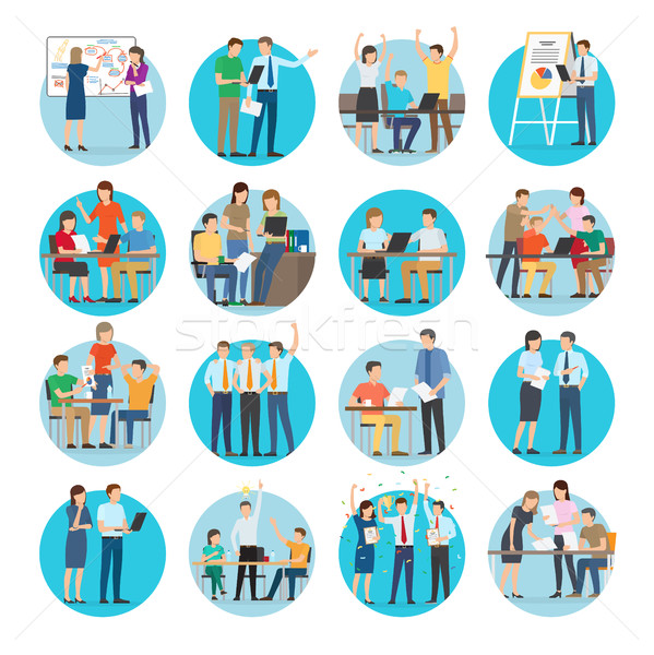 Office Teamworking Process Collection on White Stock photo © robuart