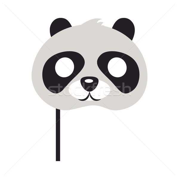 Panda maske ayı siyah gözler hayvan Stok fotoğraf © robuart