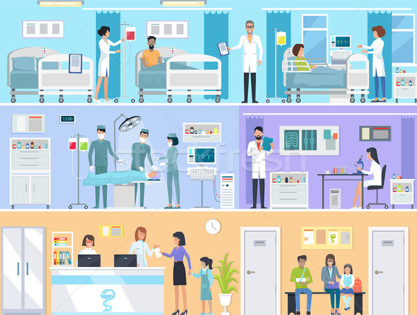 Horizontal Set of Medical Services in Hospital Stock photo © robuart