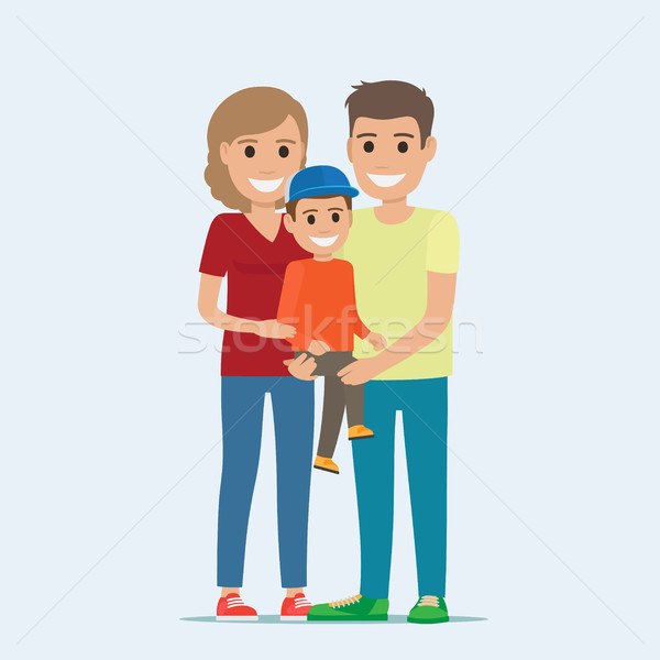 Married Couple in Casual Cloth and Son on Hands. Stock photo © robuart