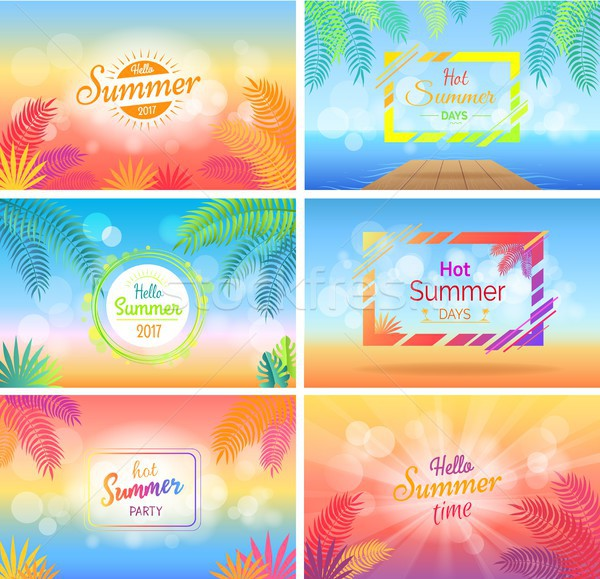 Hello Hot Summer Days Posters Set on Blurred Stock photo © robuart