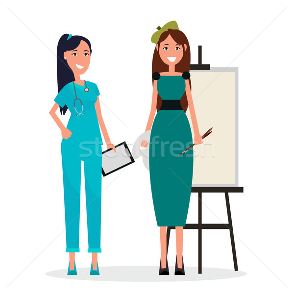 Medical Adviser in Blue Uniform and Woman Artist Stock photo © robuart
