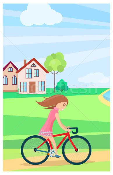 Dziewczynka jazda konna rowerów odkryty lata czasu Zdjęcia stock © robuart