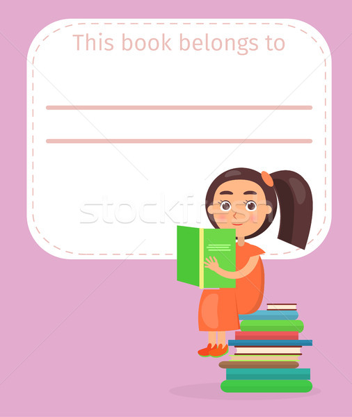 Place for Book Signing with Girl on Pile of Books Stock photo © robuart