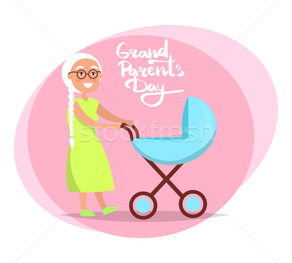 Grandparents Day Senior Lady with Pram Vector Stock photo © robuart