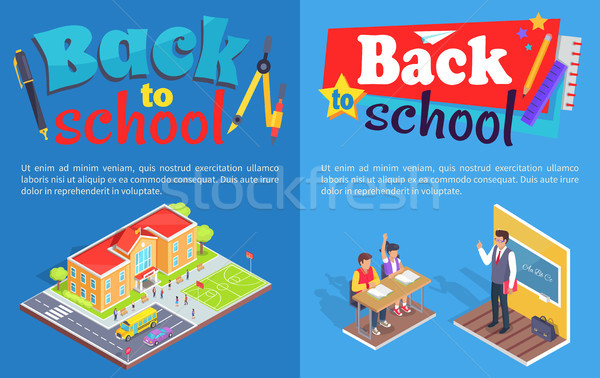 Okula geri posterler izometrik örnek vektör Stok fotoğraf © robuart