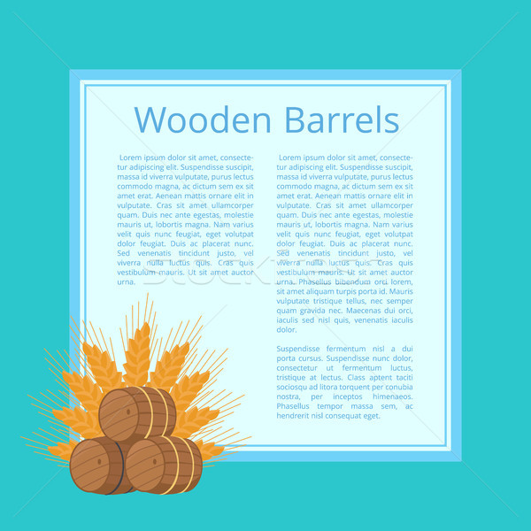 Wooden Barrels and Ripe Wheat Ears Illustration Stock photo © robuart