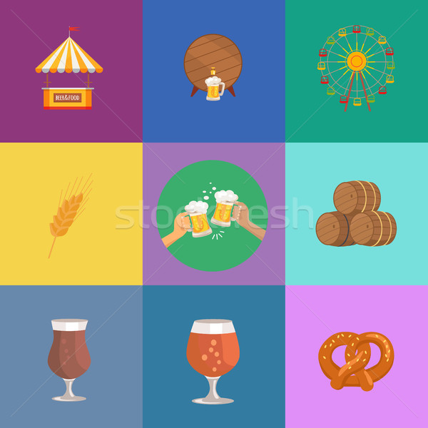 Vector Illustrations Octoberfest. Beer and Food Stock photo © robuart