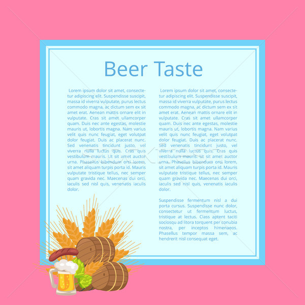 Beer Taste Poster with Barrels, Food and Drink Stock photo © robuart