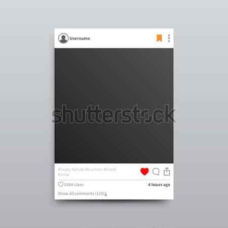 Instagram vazio photo frame isolado ilustração vermelho Foto stock © robuart