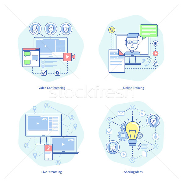 Video Conferencing, Training Vector Illustration Stock photo © robuart