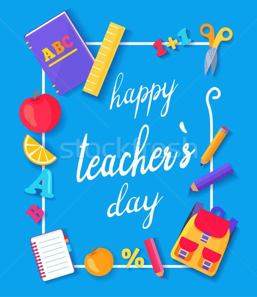 Happy Teachers Day Promo Vector Illustration Blue Stock photo © robuart