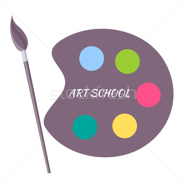 Kunst Schule Farbe Palette Pinsel Vektor Stock foto © robuart