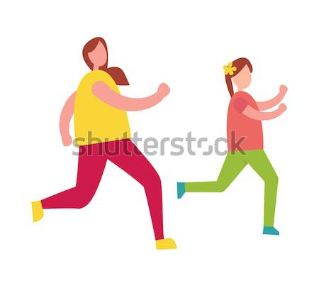 Mother Chasing her Young Daughter Illustration Stock photo © robuart