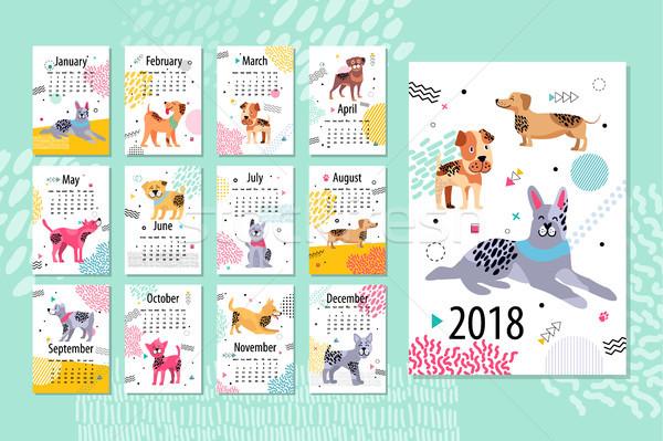 Calendário amostra animal meses cães Foto stock © robuart