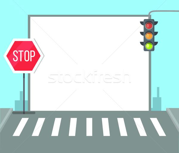 Yaya dur işareti trafik ışıkları trafik ışığı çerçeve metin Stok fotoğraf © robuart