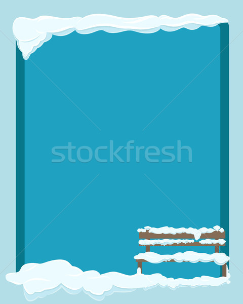 Bench under Snow Isolated on Blue Background. Stock photo © robuart