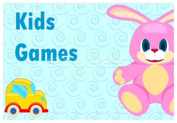 дети играх плакат розовый заяц желтый Сток-фото © robuart