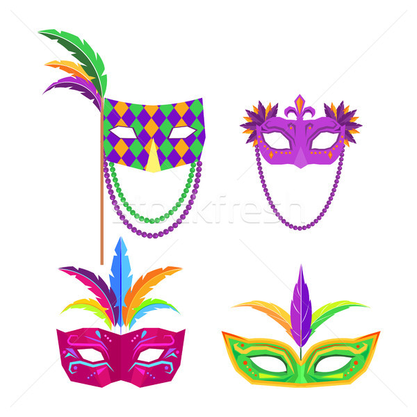 Colombina Carnival Mask with Feathers Flat Vector Stock photo © robuart