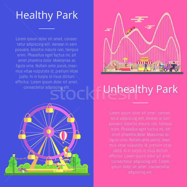 Healthy and Unhealthy Park Set Vector Illustration Stock photo © robuart