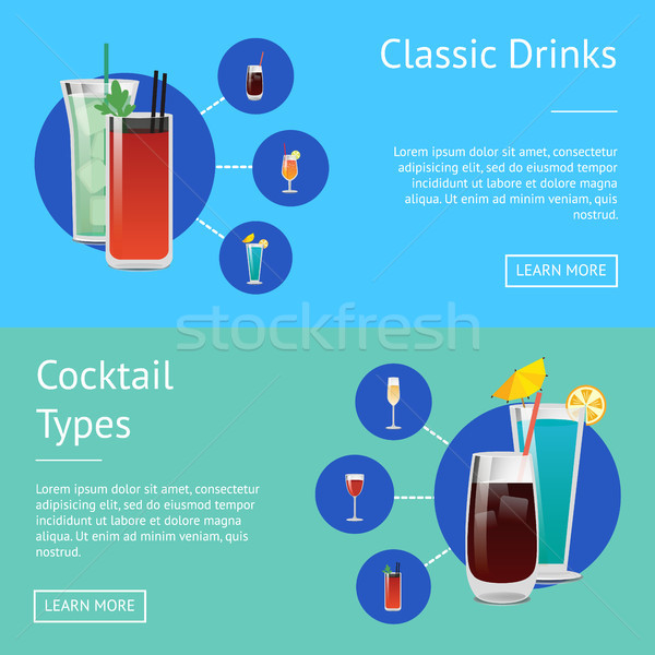 Classic Drinks Cocktail Types Posters Bloody Mary Stock photo © robuart