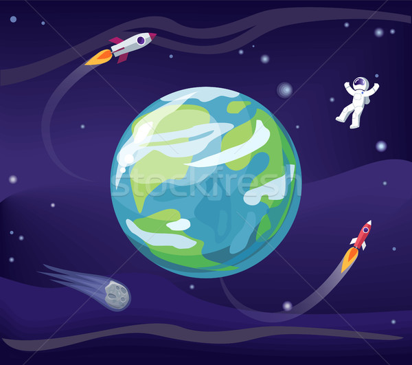 Earth and Spaceman Poster Vector Illustration Stock photo © robuart