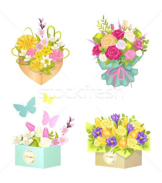 Bouquets and Flowers Set, Vector Illustration Stock photo © robuart