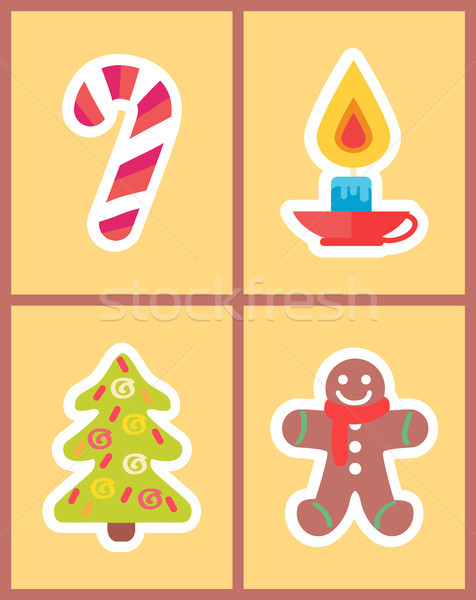 Sweet Candy Stick, Burning Candle, New Year Tree Stock photo © robuart