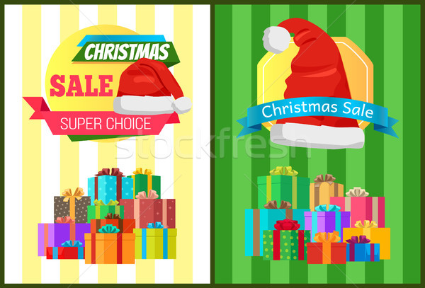 Hot Prices Xmas Sale Poster Santa Claus Hat Label Stock photo © robuart
