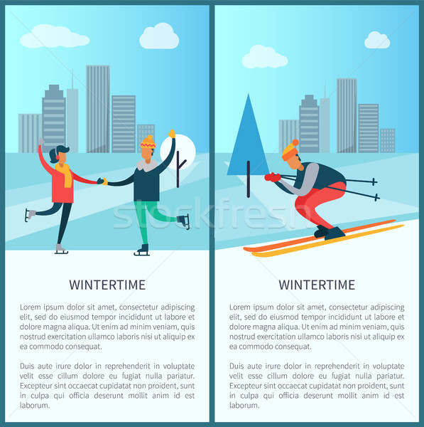 Wintertime Skaters and Skier Vector Illustration Stock photo © robuart