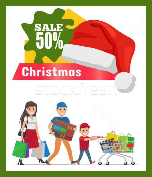 Christmas Sale Half Price Card Vector Illustration Stock photo © robuart