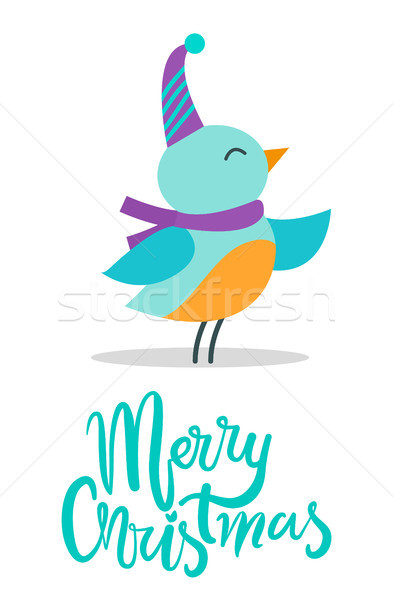 Merry Christmas Birdie, Title Vector Illustration Stock photo © robuart