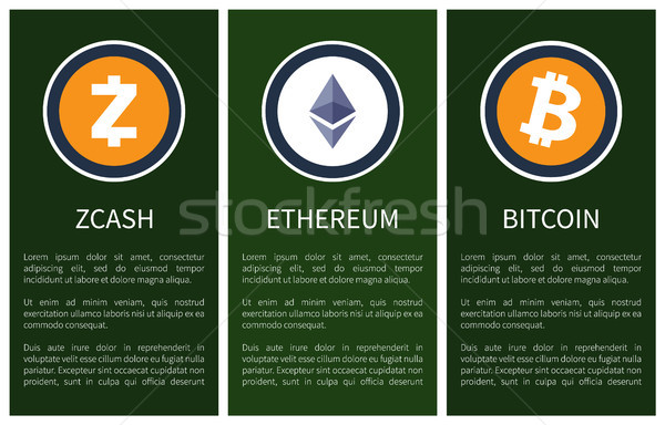 Cryptocurrency Icons and Sample Text on Posters Stock photo © robuart