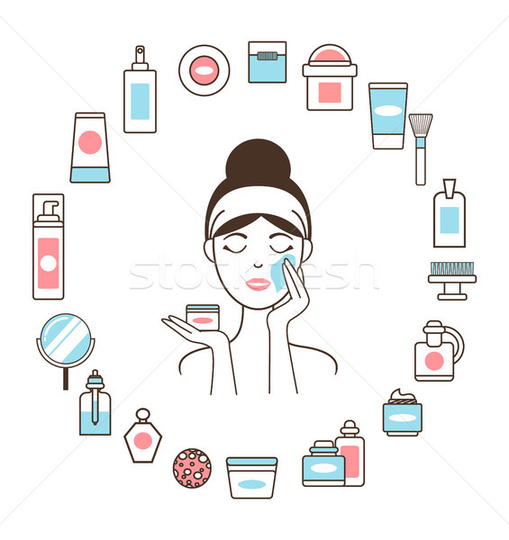 Woman in Headband inside Circle of Cosmetic Means Stock photo © robuart