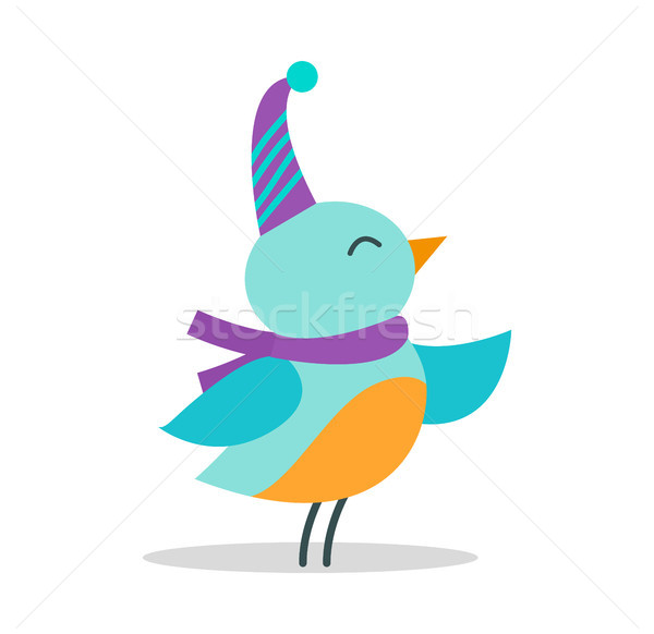 Bird with Hat and Scarf on Vector Illustration Stock photo © robuart
