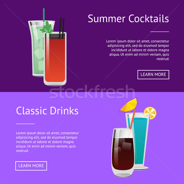 Classic Drinks Summer Cocktails Colorful Posters Stock photo © robuart