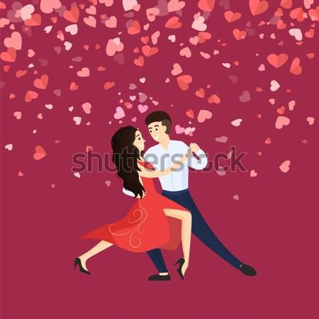 Vriendje vriendin dansen tango harten gelukkig Stockfoto © robuart