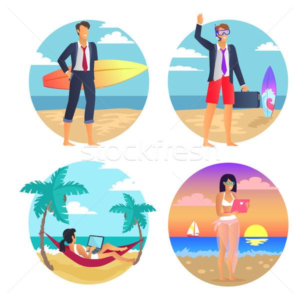 üzlet nyár szabadúszó poszter üzletember szörfdeszka Stock fotó © robuart